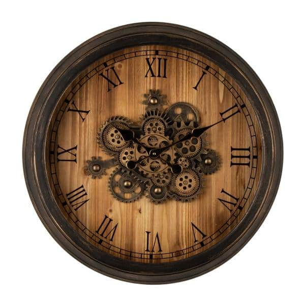 Glitzhome 27 76 In D Vintage Industrial Oversized Wooden Metal Wall Clock With Moving Gears 2009500001 The Home Depot