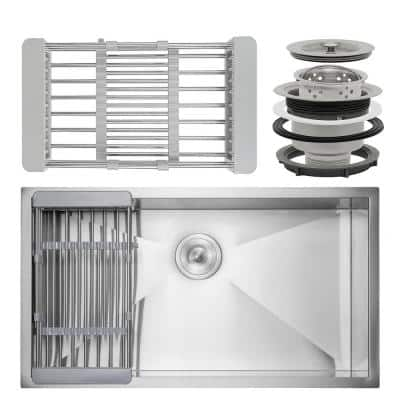 Handmade Undermount Stainless Steel 32 in. x 18 in. Single Bowl Kitchen Sink with Drying Rack