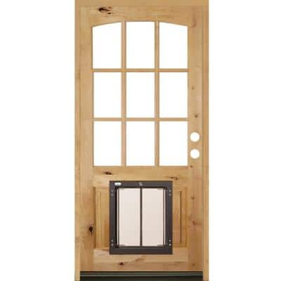 36 in. x 80 in. Left-Hand Arch Top 9 Lite Clear Glass Unfinished Wood Prehung Door with Large Dog Door