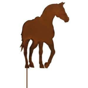 20 in. Tall Steel Metal Rustic Rust Horse Planter Pick, Brownish Red