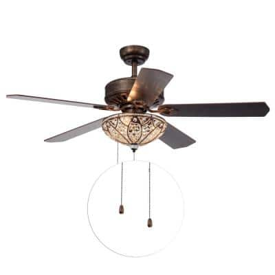 Gliska 52 in. Bronze Indoor Hand Pull Chain Ceiling Fan with Light Kit