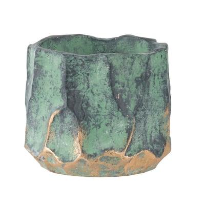 4.5 in. Green, Gold Concrete Planter