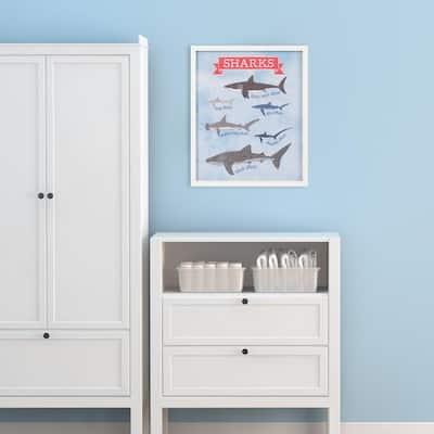22 in. x 26 in. Types Of Sharks Shark Chart Framed Wall Art