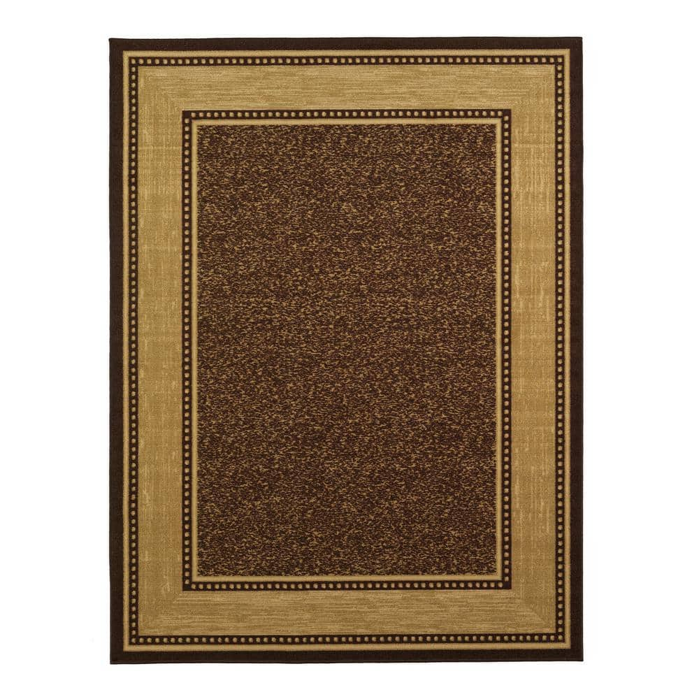 Ottomanson Contemporary Bordered Design Brown 8 Ft X 10 Ft Non Skid Area Rug Oth2208 8x10 The Home Depot