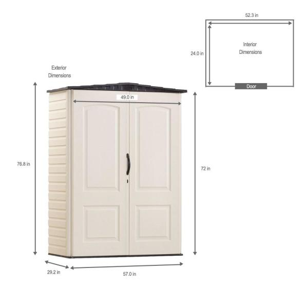 Rubbermaid 2 Ft 4 In X 4 Ft 8 In Small Vertical Resin Storage Shed Fg5l1000sdonx The Home Depot