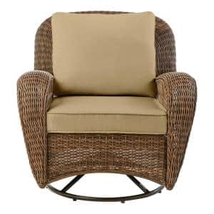 Beacon Park Brown Wicker Outdoor Patio Swivel Lounge Chair with CushionGuard Toffee Tan Cushions