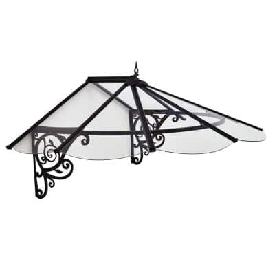 Lily 4 ft. x 6 ft. Black/Clear Door and Window Awning