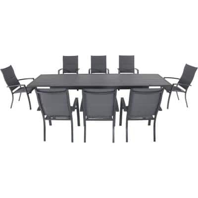 Nova 9-Piece Aluminum Outdoor Dining Set with 8-Padded Sling Chairs in Gray and 40 in. x 118 in. Expandable Table