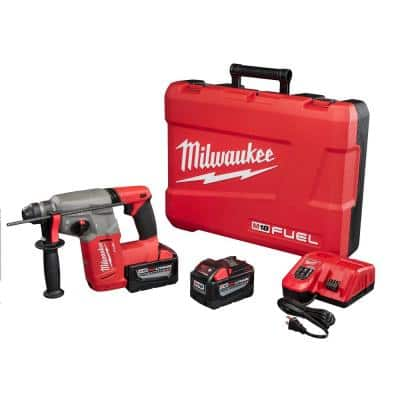 M18 FUEL 18-Volt Lithium-Ion Brushless Cordless 1 in. SDS-Plus Rotary Hammer Kit W/(2) 9.0Ah Batteries, Rapid Charger