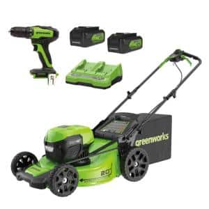 20 in. 48-Volt (2 x 24V) Battery Cordless Self-Propelled Lawn Mower with (2) 5.0 Ah Battery Charger and 24-Volt Drill