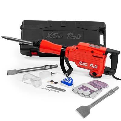 2200-Watt Heavy-Duty Demolition Jack Hammer Concrete Breaker with 3 in. x 12 in. Scaling Chisel Bit and Tool Kit