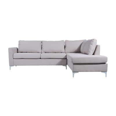 Landon Beige Linen 3-Seater L-Shaped Reversible Sectional Sofa with Removable Cushions