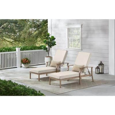 Beachside Rope Look Wicker Outdoor Patio Chaise Lounge with CushionGuard Almond Tan Cushions (2-Pack)