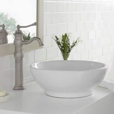 Lyndhurst Single Hole Single-Handle Vessel Bathroom Faucet in Brushed Nickel