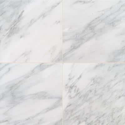 Greecian White 18 in. x 36 in. Polished Floor and Wall Marble Tile (20 Pieces/90 sq. ft./Pallet)