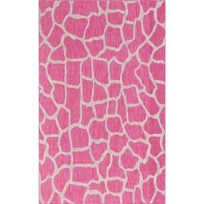 Outdoor Giraffe Pink 7 ft. x 10 ft. Area Rug