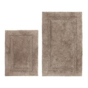 Peniston 2-Piece Brown Cotton 17 in. x 24 in. / 21 in. x 34 in. Rug Set