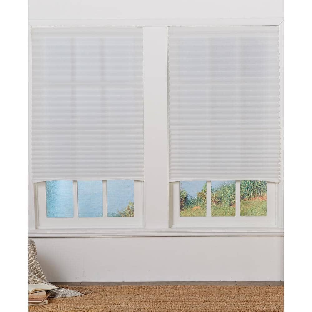 Perfect Lift Window Treatment White Cordless Light Filtering Set Of 4 Temporary Pleated Shades 48in W X 72in L Tshd480720 The Home Depot