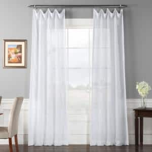 White Solid Rod Pocket Sheer Curtain - 50 in. W x 96 in. L