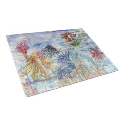 Abstract Mermaid Water Fantasy Tempered Glass Large Cutting Board
