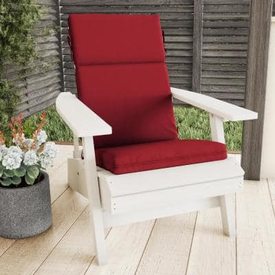 21.5 in. x 25.5 in. Indoor/Outdoor 3-Part High Back Dining Chair Cushion UV, Stain/Mildew Resistant in Red (Set of 2)