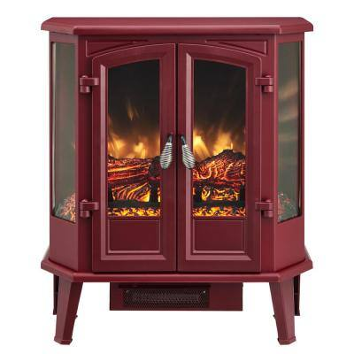 25 in. 1000 sq. ft. Dark Mahogany 5-Sided Infrared Electric Stove