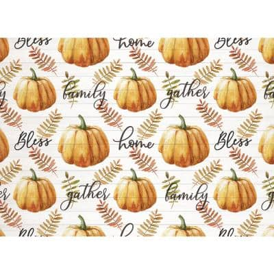 18 in. x 13 in. Oranges/Peaches Gather Pumpkin Polypropylene Placemats (Set of 4)