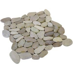 12 in. x 12 in. Tan Honed Sliced Pebble Floor and Wall Tile (5.0 sq. ft. / case)