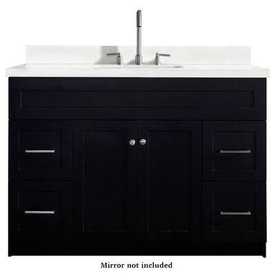 Hamlet 49 in. Bath Vanity in Black with Quartz Vanity Top in White with White Basin