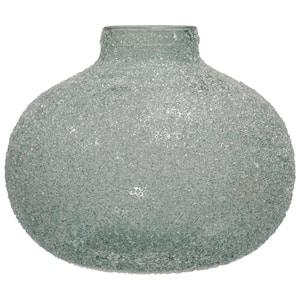 Translucent Blue Crackle Glass Round Wide Vase
