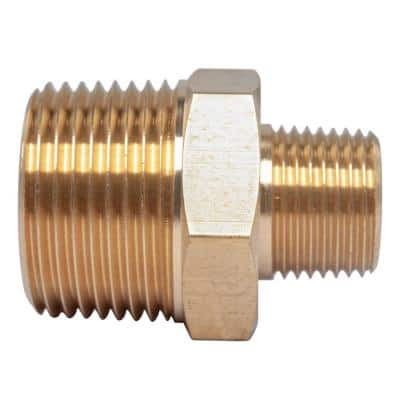 3/4 in. x 3/8 in. MIP Brass Pipe Hex Reducing Nipple Fitting (5-Pack)