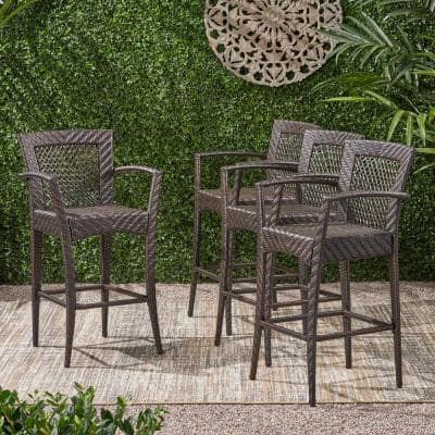 Farley Stackable Wicker Outdoor Bar Stool (4-Pack)