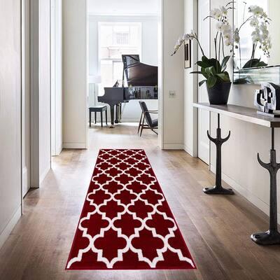 Trellis Collection Red 2 ft. x 6 ft. Polypropylene Runner Rug
