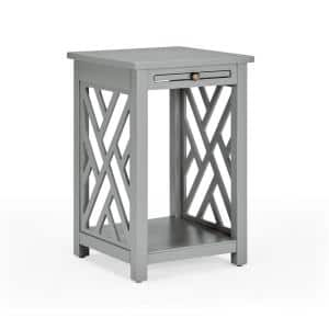 Coventry 23 in. H Gray Wood End Table with Tray Shelf and Bottom Shelf
