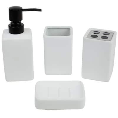 Loft 4-Piece Bath Accessory Set in White