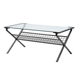 42 in. Black/Clear Large Rectangle Glass Coffee Table with Magazine Holder