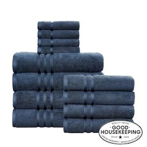 Turkish Cotton Ultra Soft 12-Piece Towel Set in Navy