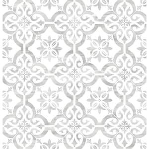 Porto Tile Harbor Mist Geometric Vinyl Peel & Stick Wallpaper Roll (Covers 40.5 Sq. Ft.)