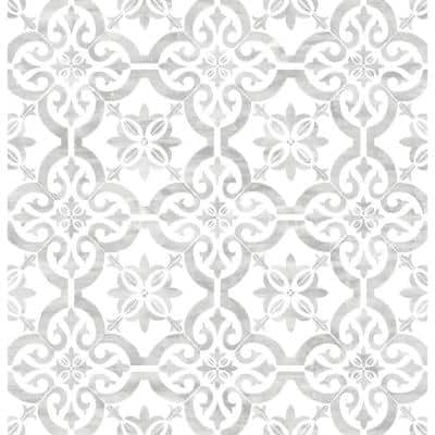 Porto Tile Harbor Mist Geometric Vinyl Peel & Stick Wallpaper Roll (Covers 40.5 Sq. Ft.)
