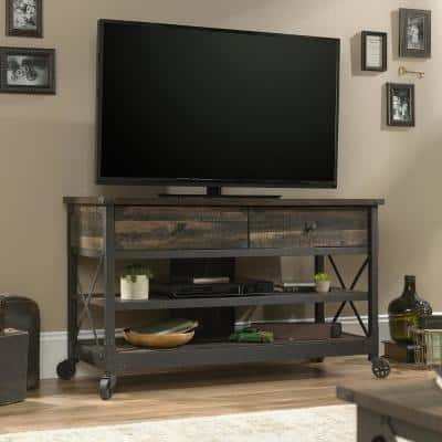 Steel River 49 in. Carbon Oak Particle Board TV Stand with 2 Drawer Fits TVs Up to 55 in. with Built-In Storage