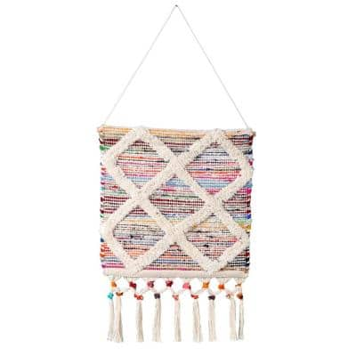 Boho Chindi 19.5 in. x 33.5 in. Multicolored/White Textured Diamond Woven Wall Hanging