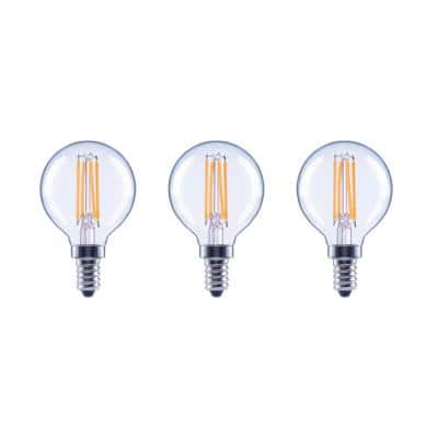 60-Watt Equivalent G16.5 Globe Dimmable ENERGY STAR Clear Glass Filament Vintage LED Light Bulb Daylight (3-Pack)