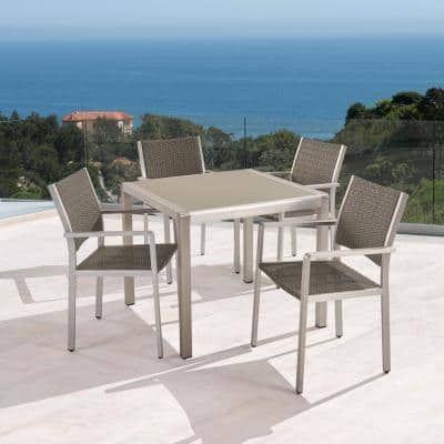 Cape Coral Silver 5-Piece Aluminum and Wicker Square Table Outdoor Dining Set with Tempered Glass