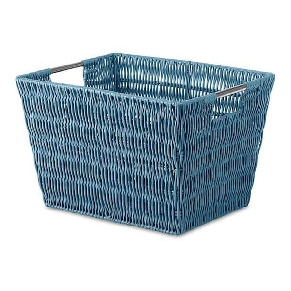 Whitmor 10 In D X 8 In H X 13 In W Blue Plastic Cube Storage Bin 6500 1717 Brybl The Home Depot