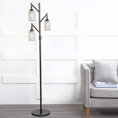 Lewis Tiffany-Style 71 in. Multi-Light Bronze Floor Lamp