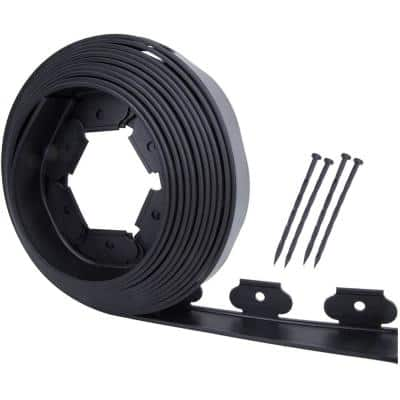 40 ft. Black No-Dig PE Plastic Landscape Garden Edging Kit with (8-Spikes)