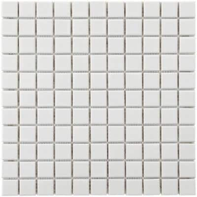 Metro Square Glossy Cool White 11-3/4 in. x 12-3/4 in. Porcelain Mosaic (10.72 sq. ft. /Case)