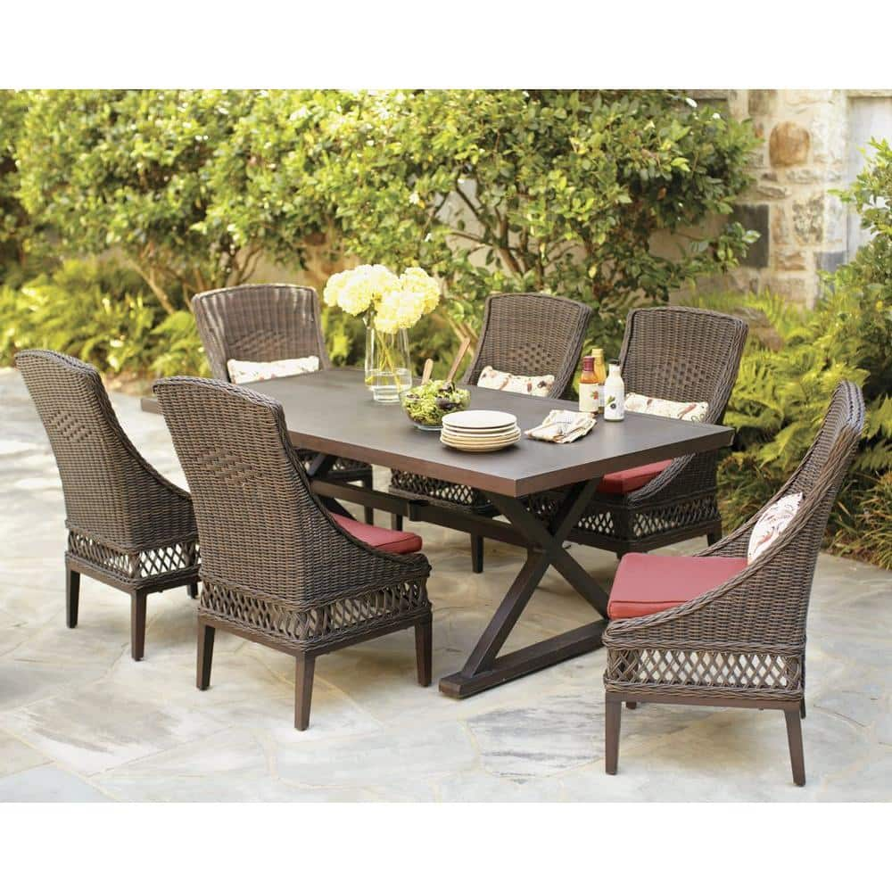 Hampton Bay Woodbury 9 Piece Wicker Outdoor Patio Dining Set with Chili  Cushion D9129 9PCR   The Home Depot