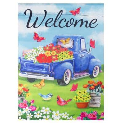 12.5 in. x 18 in. Welcome Blue Pickup Truck with Flowers Outdoor Garden Flag