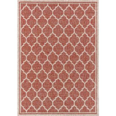 Trebol Moroccan Trellis Red/Beige 7 ft. 9 in. x 10 ft. Textured Weave Indoor/Outdoor Area Rug